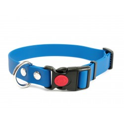Biothane Safety Klick Halsband 25mm hellblau 50-60cm