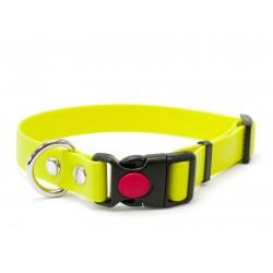 Biothane Safety Klick Halsband 25mm neon gelb 55-65cm