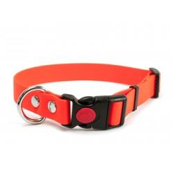 Biothane Safety Klick Halsband 19mm neon orange 50-60cm