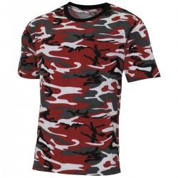 US T-Shirt, Streetstyle - L - rot-camo