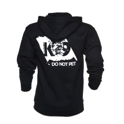 K9® - Pullover mit Zipp und Kapuze - DO NOT PET - L - schwarz