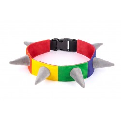 Spiked Rainbow Halsband - L