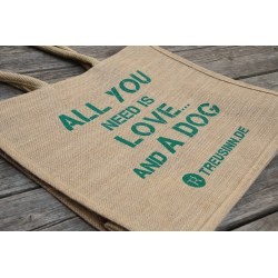 Eco Shopper Jute -  All you need is love - Tanne