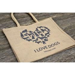 Eco Shopper Jute HERZ -  I love dogs - Schwarz