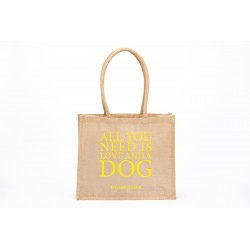 Eco Shopper Jute - All you need is love -Gelb