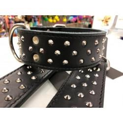 Halsband Leder mit Nieten 65cm - 50mm/46-54cm - schwarz