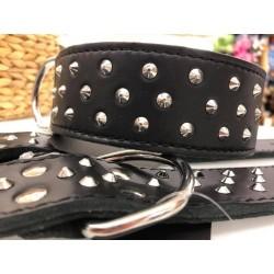 Halsband Leder mit Nieten 60cm - 50mm/42-50cm - schwarz