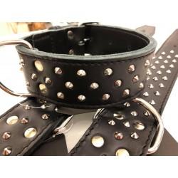 Halsband Leder mit Nieten 55cm - 50mm/36-44cm - schwarz