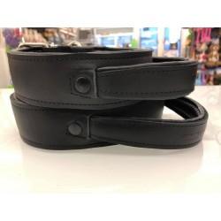 Super Soft Hetzhalsband schwarz aus Leder gepolstert m. Griff - 5cm/60cm, 40-52cm