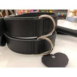 Weiches schwarzes Lederhalsband mit Nappa-Polsterung - 70cm, Chrom 40/50-58cm