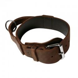 Hetzhalsband mit Griff aus weichem Fettleder 75 - 5cm/49-62cm braun, Schnalle rund unterlegt