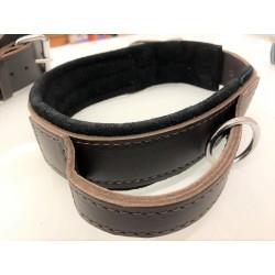 Hetzhalsband mit Griff aus weichem Fettleder gepolstert 65 - 5cm/47-56cm