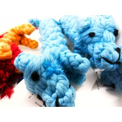 blauer Hund - geknotetes Tau