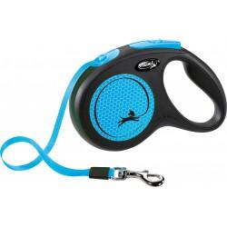 Flexi New Neon 5m - M bis 25kg - Tape - neonblau
