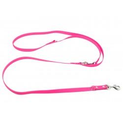 Biothane verstellbare Leine 19mm neon pink 200cm
