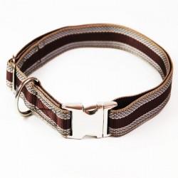 """Premium Hundehalsband """"Alu-Max®"""" - Muster - 25mm/55-90cm - braun"""