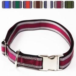 "Premium Hundehalsband ""Alu-Max®"" - Muster - 25mm/55-90cm - pflaume"