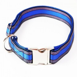 "Premium Hundehalsband ""Alu-Max®"" - Muster - 25mm/55-90cm - blau"