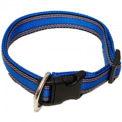 "Hundehalsband ""Wienerlock®"" - Muster - 25mm/55-90cm - blau"