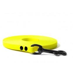 Biothane Schleppleine 9mm/5m - mit HS - genietet - neon gelb BLACK EDITION
