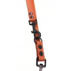 Mystique® Biothane verstellbare Leine 19mm hellbraun 250cm schwarz Karabinerhaken