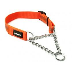 Mystique® Gummiertes Halsband mit Durchzugskette 30mm neon orange 45-65cm