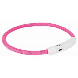 Leuchthalsband USB L/XL 65cm pink