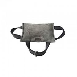 Mini-Soft Beisskissen grau Leder weich - mit 3 Schlaufen