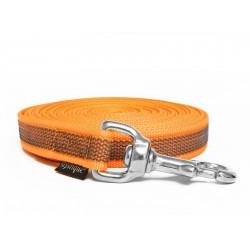 Gummierte Schleppleine 15mm neon orange 10m rostfrei Karabinerhaken