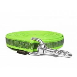 Gummierte Schleppleine 12mm neon grün  5m rostfrei Karabinerhaken