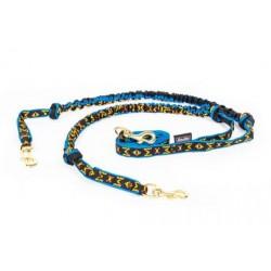 Leine mit Ruckdämpfer und Karabiner - 2 Hunde - Lang - blau M-M