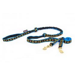 Fin Leine mit Ruckdämpfer - 2 Hunde - Lang - blau M-M