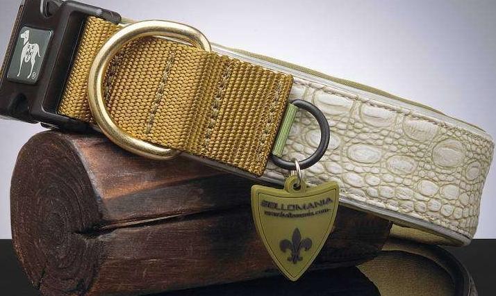 Alvin Vegan Leder Halsband oliv reptilmuster