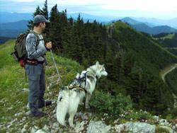 Am Berg mit Hund